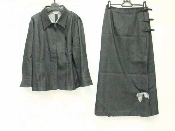 インゲボルグ スカートスーツ サイズL レディース ネイビー×白 デニム/リボン
