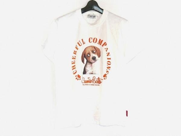 kunio sato(クニオ サトウ) 半袖Tシャツ メンズ美品  白×ブラウン×オレンジ