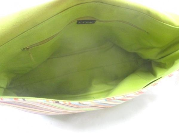 ポールスミス ショルダーバッグ ライトグリーン×オレンジ×マルチ 斜めストライプ