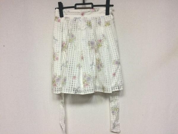 シークレットハニー スカート サイズ2 M レディース美品  白×マルチ 花柄/チェック柄