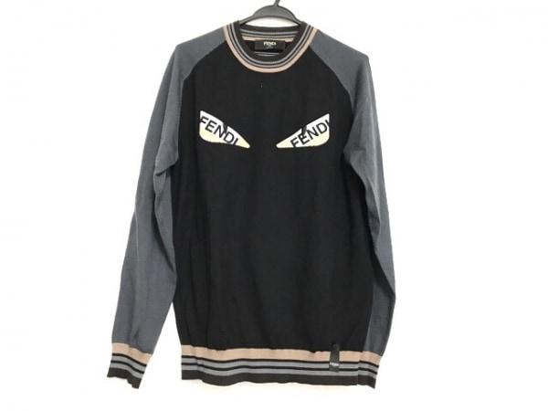 FENDI(フェンディ) 長袖セーター サイズ50 M メンズ美品  黒×グレー×マルチ
