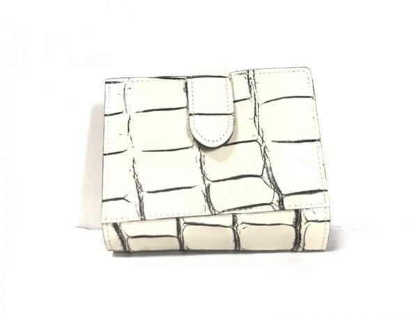 croix royal(クロワロワイヤル) 2つ折り財布美品  アイボリー クロコダイル