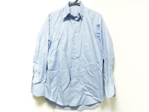 FRAY(フレイ) 長袖シャツ メンズ ブルー×白 チェック柄