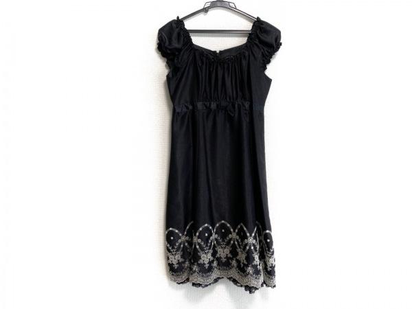 L'EST ROSE(レストローズ) ワンピース サイズ2 M レディース美品  黒×白 刺繍