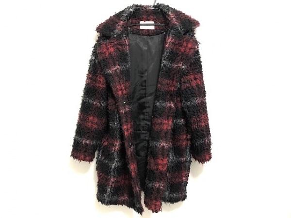 moussy(マウジー) コート サイズF レディース美品  黒×レッド×グレー 冬物