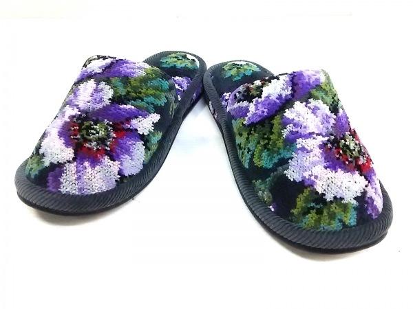 フェイラー 靴 レディース ダークグレー×パープル×マルチ 花柄/スリッパ パイル