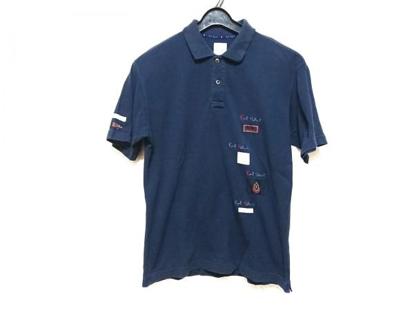 KarlHelmut(カールヘルム) 半袖ポロシャツ サイズM メンズ ネイビー×マルチ 刺繍
