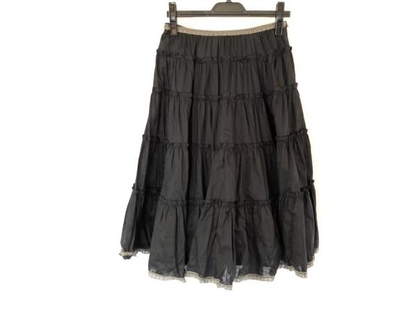 Lois CRAYON(ロイスクレヨン) スカート サイズM レディース美品  黒×グレー フリル