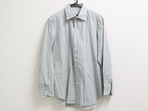 FRAY(フレイ) 長袖シャツ サイズ42 L メンズ美品  ライトグリーン×白 ストライプ