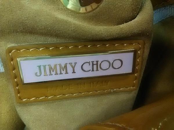 ジミーチュウ トートバッグ - ライトブラウン エナメル(レザー)×スエード
