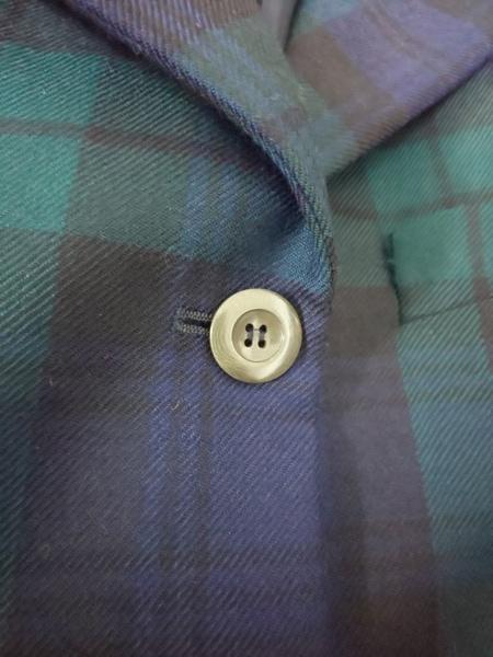 ダナキャラン ジャケット サイズ2 M レディース グリーン×ダークネイビー チェック柄