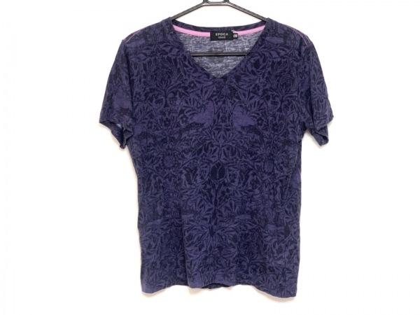 EPOCA(エポカ) 半袖Tシャツ サイズ46 XL メンズ パープル×黒 UOMO/Vネック