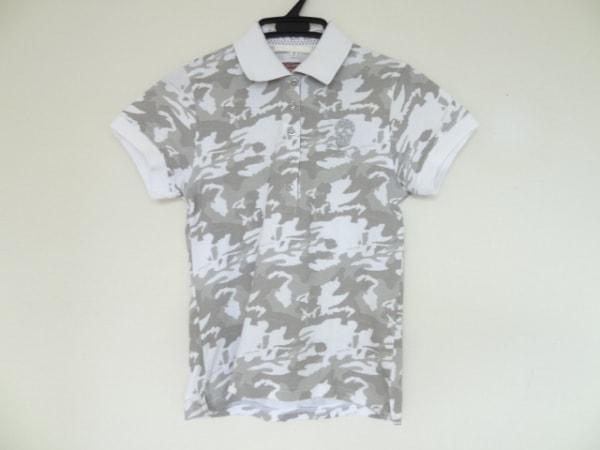 マークアンドロナ 半袖ポロシャツ サイズM レディース 白×ライトグレー×グレー