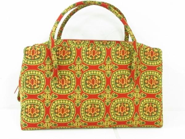 龍村美術織物(タツムラ) ハンドバッグ ボルドー×マルチ ジャガード