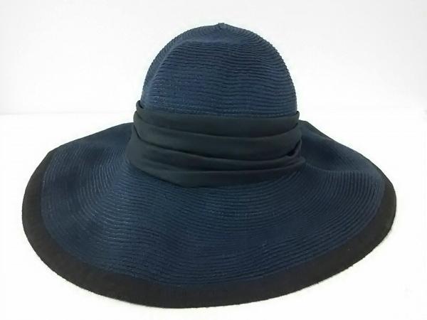 LANVIN COLLECTION(ランバンコレクション) 帽子新品同様  ダークネイビー×黒 リボン