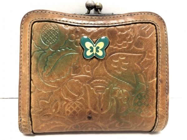 ANNA SUI(アナスイ) 2つ折り財布 ライトブラウン×グリーン がま口 レザー