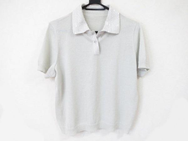 レリアン 半袖ポロシャツ サイズ13+ S レディース美品  ライトグレー×マルチ