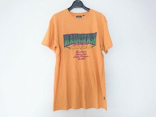 マナスタッシュ 半袖Tシャツ サイズL メンズ ライトブラウン×パープル×グリーン