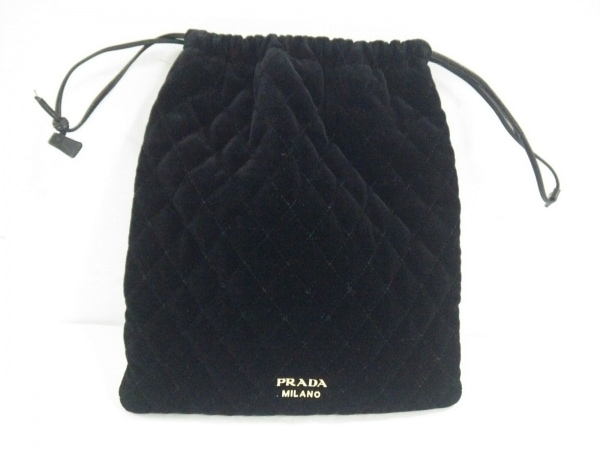 PRADA(プラダ) ポーチ - 黒 巾着/キルティング ベロア