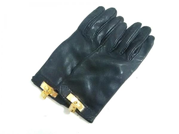 HERMES(エルメス) 手袋 レディース ソヤ 黒 ケリーチャーム/ゴールド金具 レザー