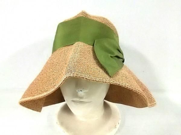 アシーナ ハット ベージュ×グリーン リボン 指定外繊維(紙)×ポリエステル