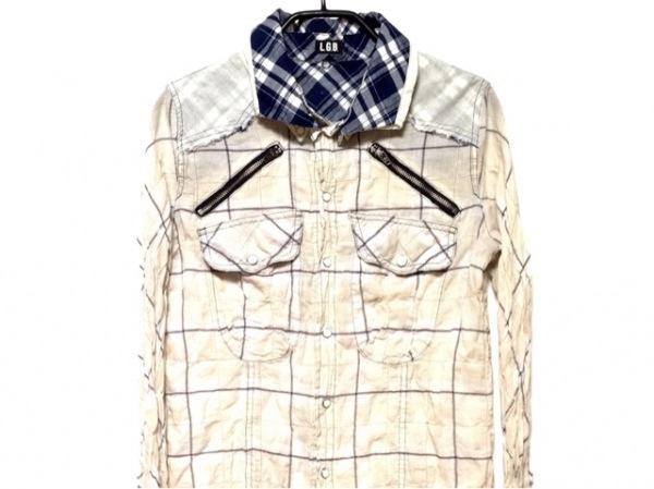 L.G.B.(ルグランブルー) 長袖シャツ サイズ0 XS メンズ 08049 ベージュ×ネイビー×白