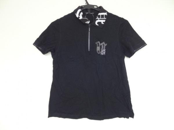 バレンザポースポーツ 半袖ポロシャツ サイズ40 M レディース 黒×白 ラインストーン