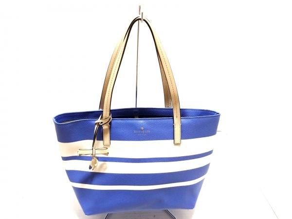 ケイトスペード トートバッグ ホーソー レーン PXRU5754 ブルー×白×ベージュ