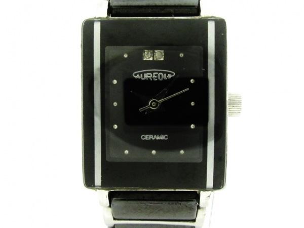 AUREOLE(オレオール) 腕時計美品  19SW-495L レディース ラインストーン 黒