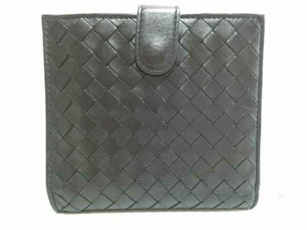ボッテガヴェネタ Wホック財布美品  イントレチャート 163240 黒 レザー