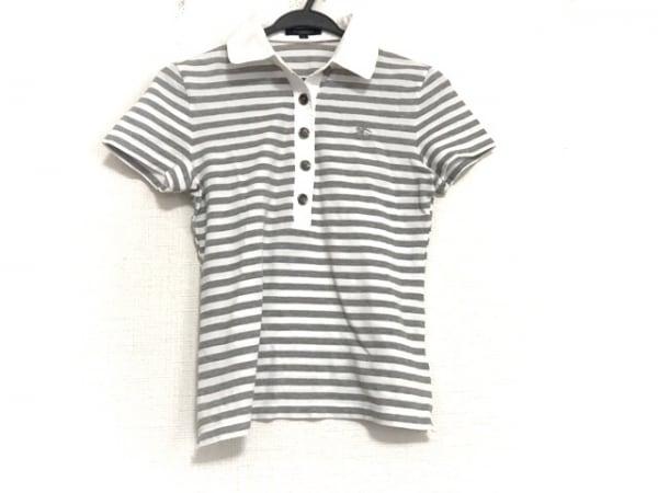 バーバリーロンドン 半袖ポロシャツ サイズ1 S レディース美品  白×グレー ボーダー