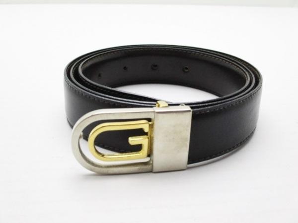 グッチプラス ベルト 黒×シルバー×ゴールド リバーシブル レザー×金属素材