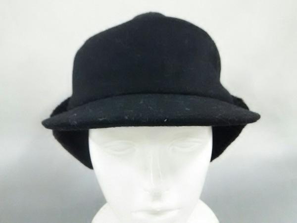 agnes b(アニエスベー) 帽子 57美品  黒 耳あて付き ウール×ナイロン