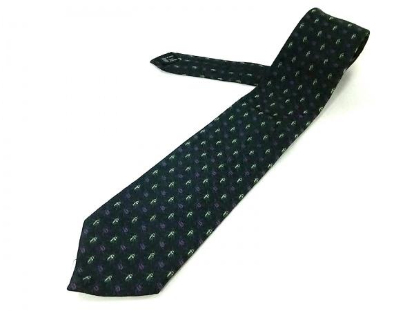 GUCCI(グッチ) ネクタイ メンズ 黒×ライトグリーン×マルチ