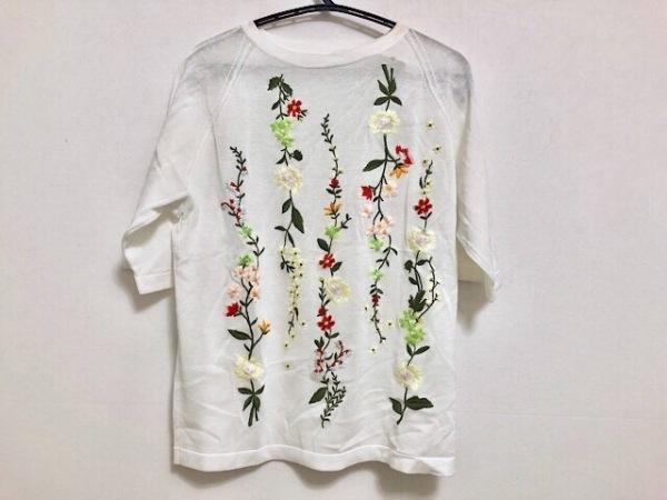 49アベニュージュンコシマダ 半袖セーター サイズ40 M レディース美品  白×マルチ