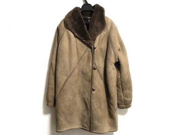 シャーリング コート サイズ40 M レディース ライトブラウン ムートン/冬物