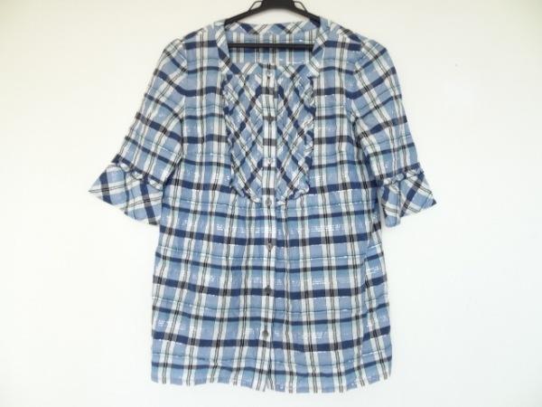 Leilian(レリアン) シャツブラウス サイズ9 M レディース美品  ブルー×白×マルチ