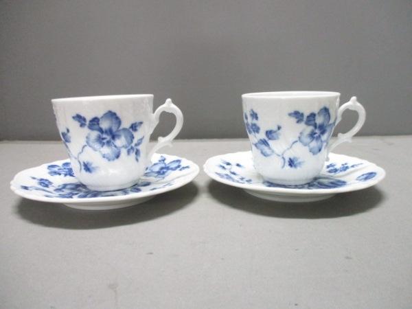 リチャードジノリ カップ&ソーサー新品同様  白×ネイビー 2客セット 陶器