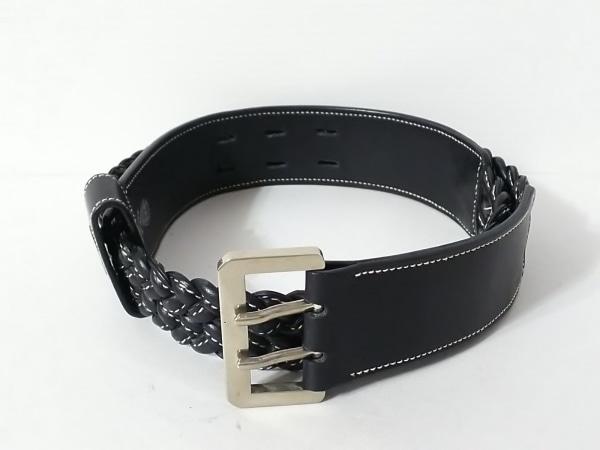 GUCCI(グッチ) ベルト 75-30 オールドグッチ 黒 編み込み レザー