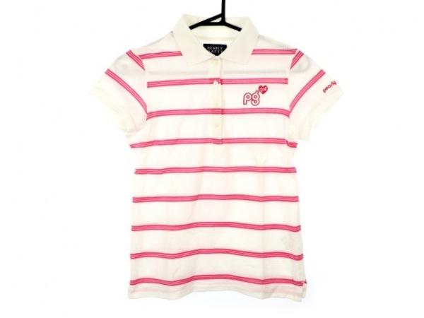 パーリーゲイツ 半袖ポロシャツ サイズ0 XS レディース美品  白×ピンク ボーダー