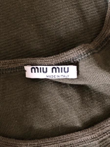 miumiu(ミュウミュウ) 半袖カットソー サイズM レディース カーキ×ブラウン