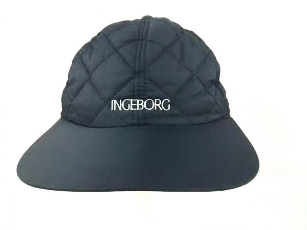 INGEBORG(インゲボルグ) キャップ美品  黒×白 ナイロン