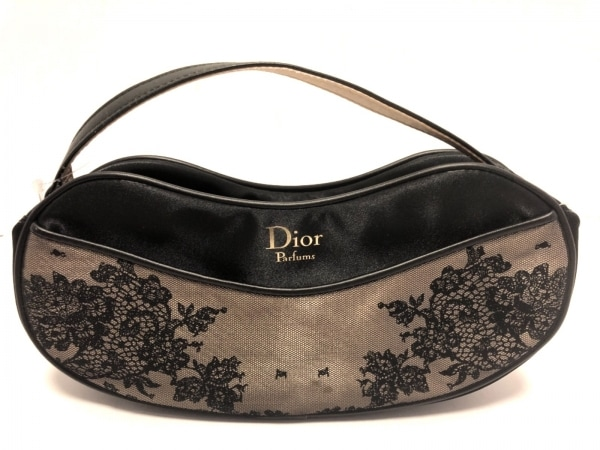 Dior Parfums(ディオールパフューム) ハンドバッグ美品  ベージュ×黒 レース サテン