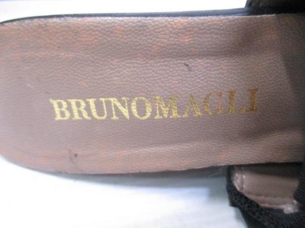 ブルーノマリ サンダル 37 レディース 黒×ダークブラウン ウェッジソール
