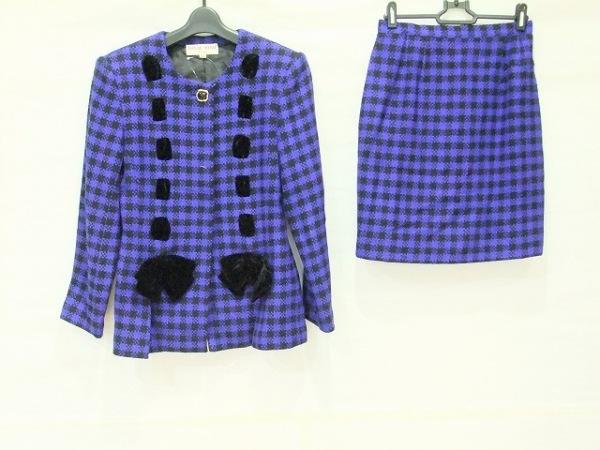 ハナエモリ スカートスーツ サイズ9A3 レディース ブルー×黒 リボン/チェック柄