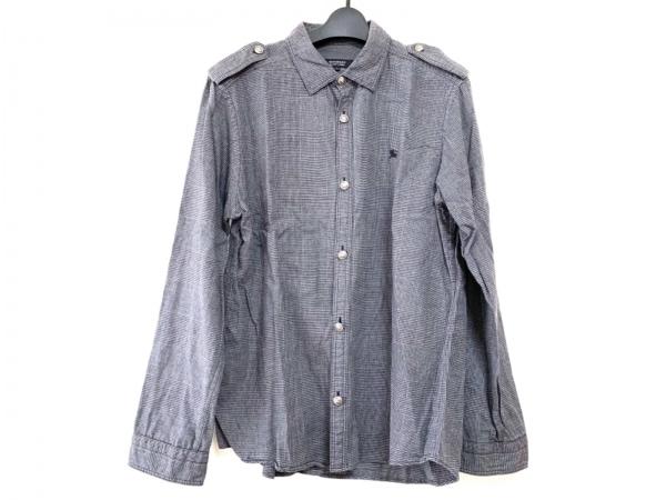 バーバリーブラックレーベル 長袖シャツ サイズ3 L メンズ グレー×黒