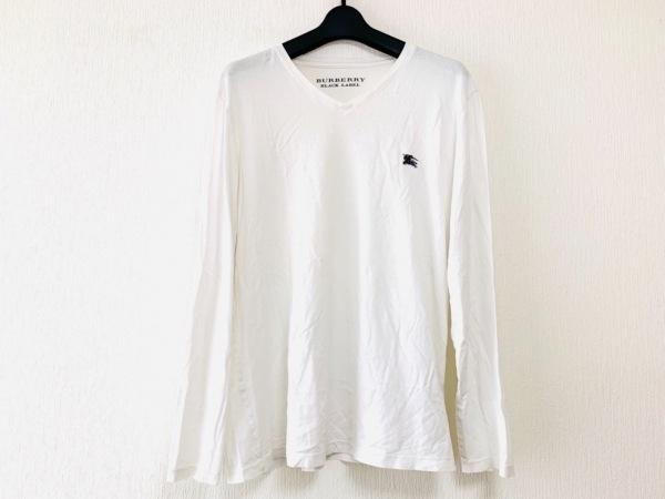 バーバリーブラックレーベル 長袖Tシャツ サイズ3 L メンズ 白 Vネック