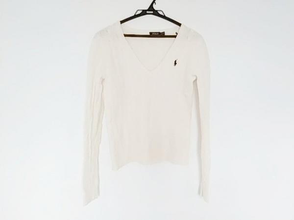 ポロラルフローレン 長袖セーター サイズM レディース 白 ケーブルニット/Vネック