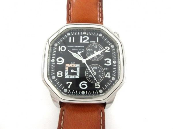 トランスコンチネンス 腕時計 6329-S034795 メンズ 革ベルト/クロノグラフ 黒