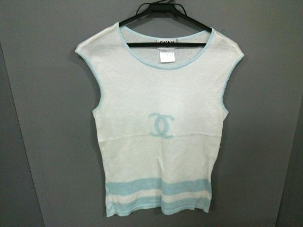シャネル ノースリーブセーター サイズ38 M レディース美品  白×ライトブルー